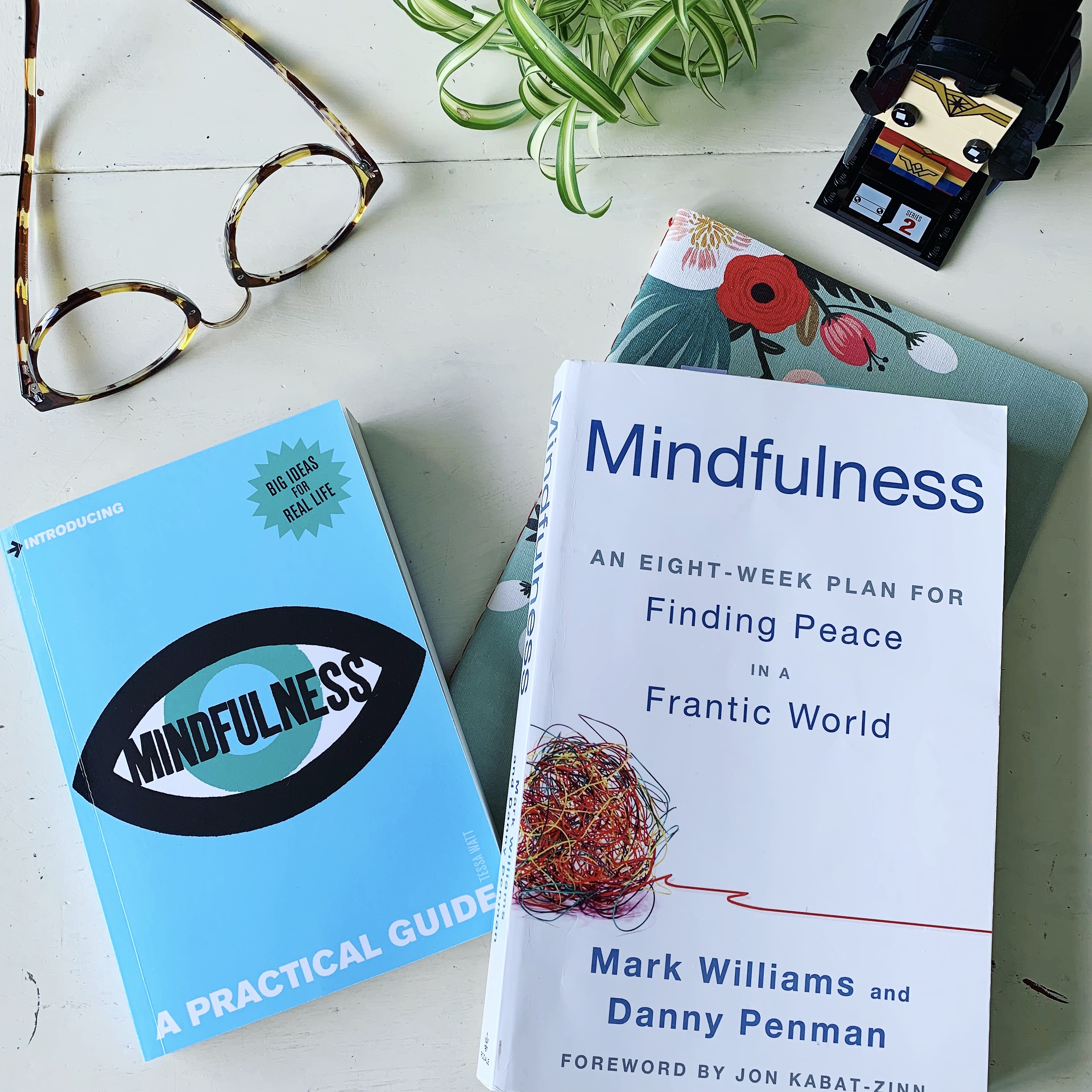 Photo of mindfulness books on table