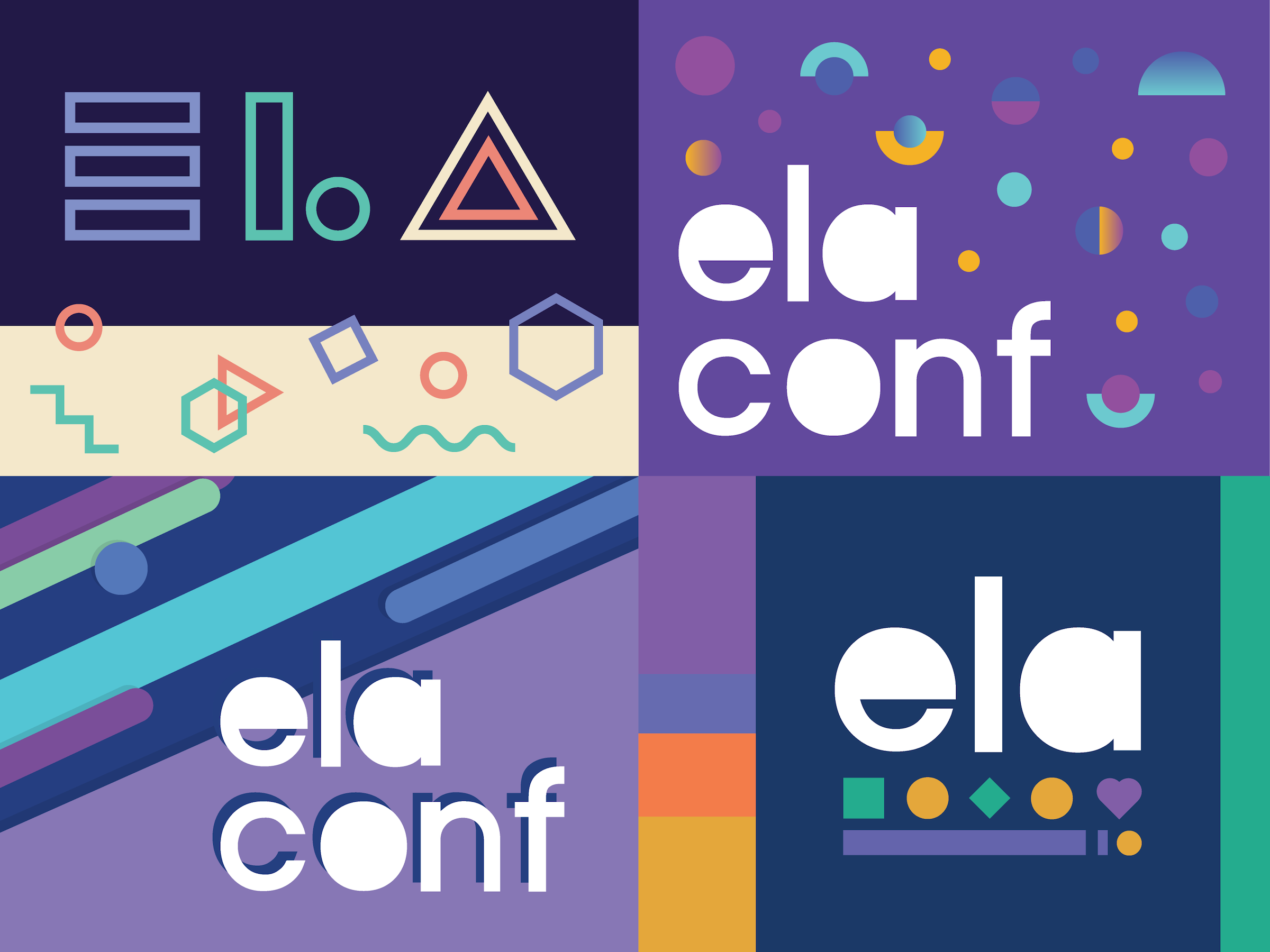 Visual of 3 years of ela conf themes and the general community branding
